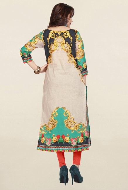 Ziyaa Beige & Green Printed Cotton Kurta