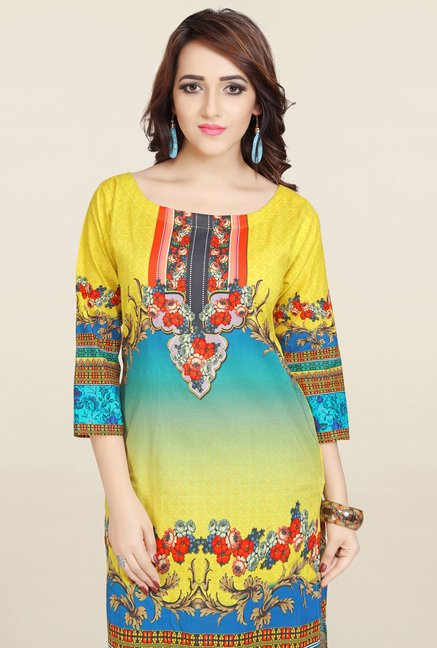 Ziyaa Yellow & Blue Printed Cotton Kurta