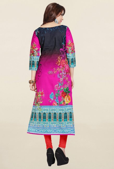 Ziyaa Pink & Black Printed Cotton Kurta
