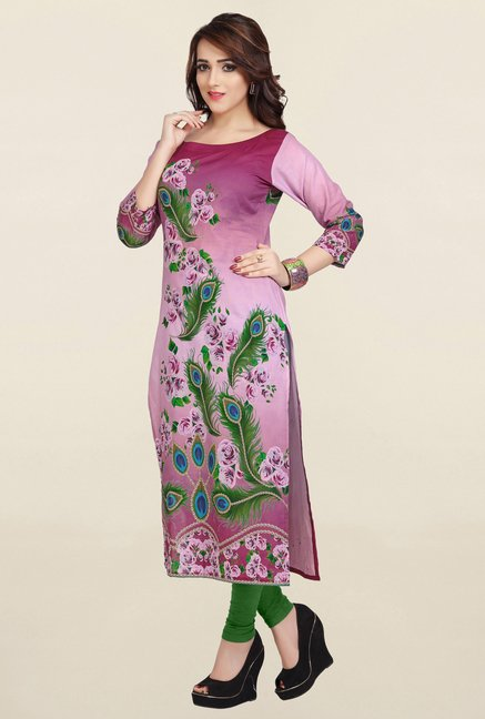 Ziyaa Pink Printed Cotton Kurta
