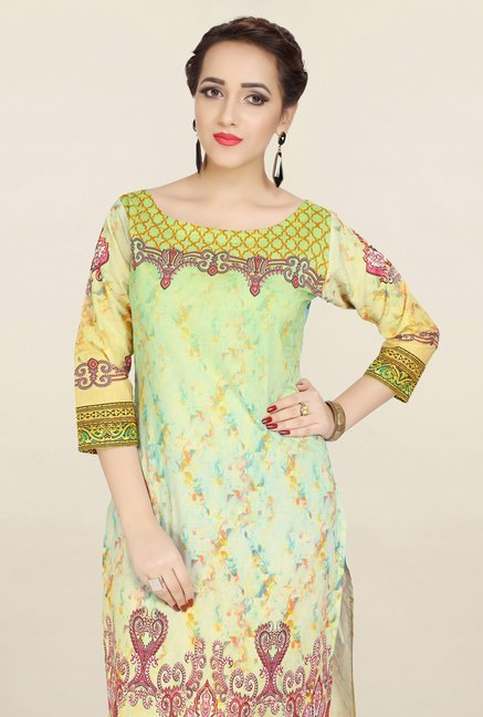 Ziyaa Yellow & Green Printed Cotton Kurta