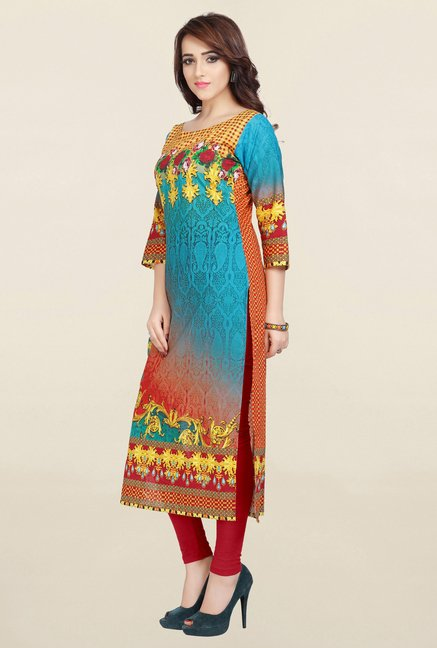 Ziyaa Blue Printed Cotton Kurta