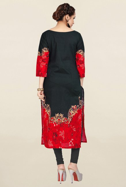Ziyaa Black Printed Cotton Kurta