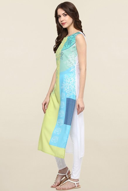 Ziyaa Yellow & Blue Printed Crepe Kurta