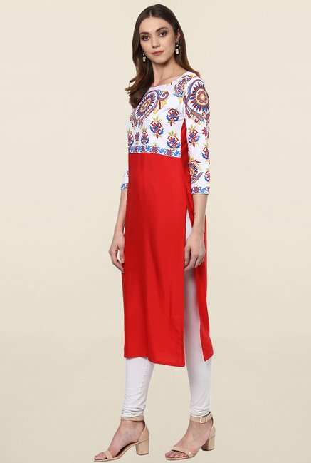 Ziyaa Red & White Printed Crepe Kurta