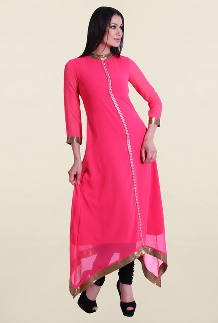 Drapes & Silhouettes Pink Solid Georgette Kurta