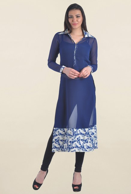 Drapes & Silhouettes Navy Printed Georgette Kurta