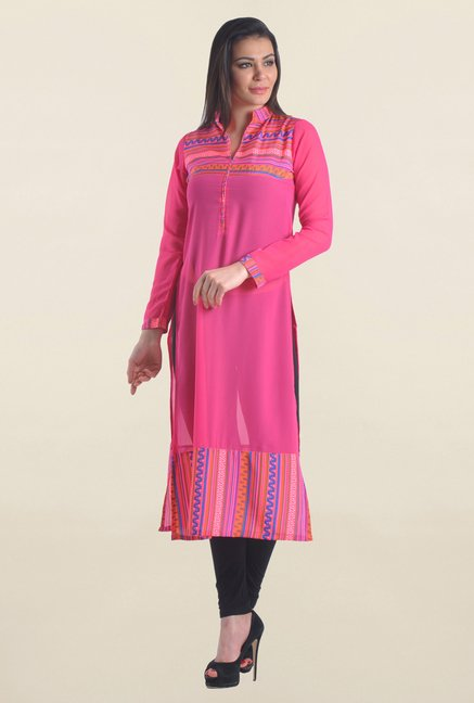 c36bed6949009f Buy Drapes & Silhouettes Pink Printed Georgette Kurta for Women ...