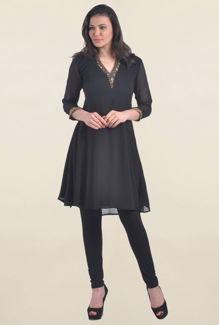 Drapes & Silhouettes Black Embellished Georgette Kurti