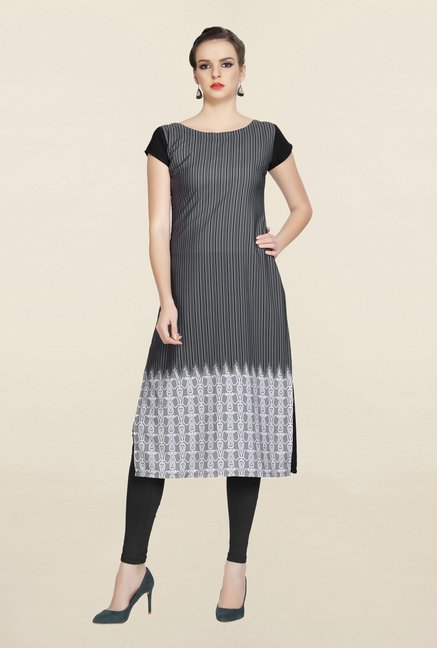 Ziyaa Grey Striped Crepe Kurta