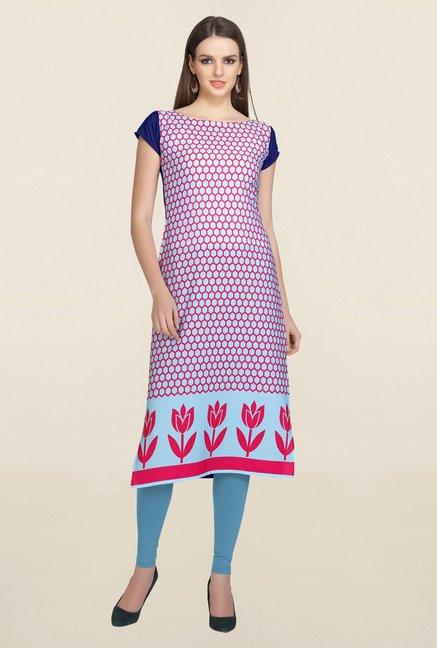 Ziyaa Blue & Pink Printed Crepe Kurta