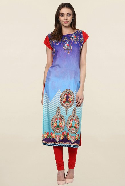 Ziyaa Purple & Blue Printed Crepe Kurta
