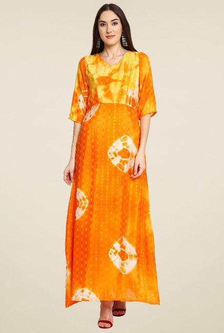 Aujjessa Yellow & Orange Printed Dress