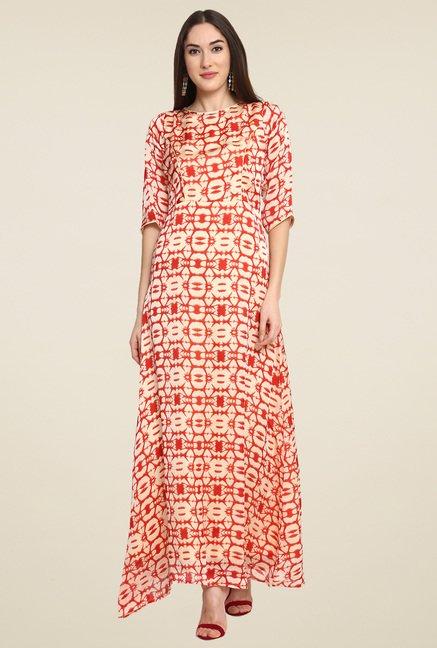 Aujjessa Cream & Red Printed Maxi Dress