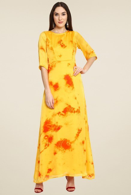 Aujjessa Yellow Printed Maxi Dress