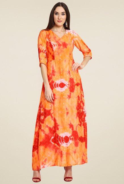 Aujjessa Orange & Red Printed Dress