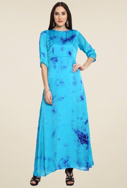 Aujjessa Turquoise 3/4th Sleeves Maxi Dress