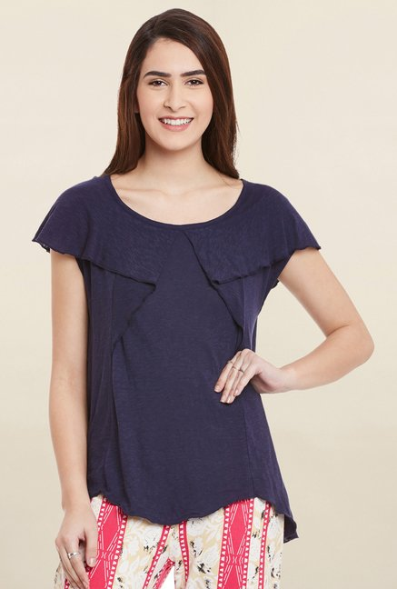 Cherymoya Navy Textured Top