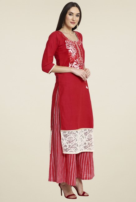 Aujjessa Red Embroidered Palazzo Set