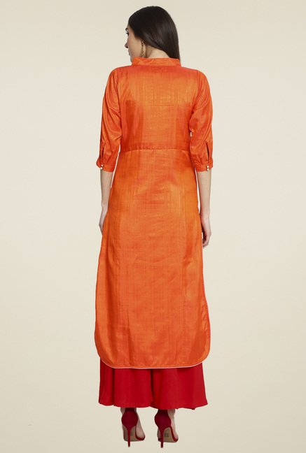 Aujjessa Orange 3/4th Sleeves Palazzo Set