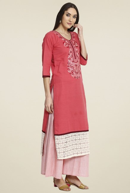 Aujjessa Peach Embroidered Palazzo Set