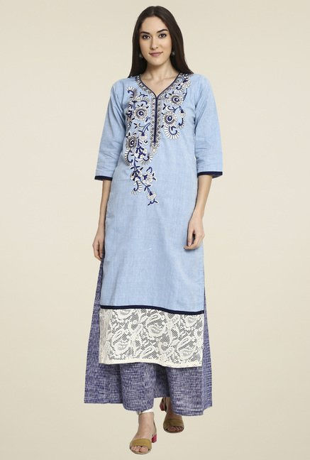 Aujjessa Blue Embroidered Palazzo Set