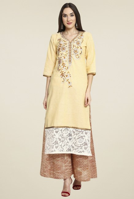 Aujjessa Cream Embroidered Palazzo Set