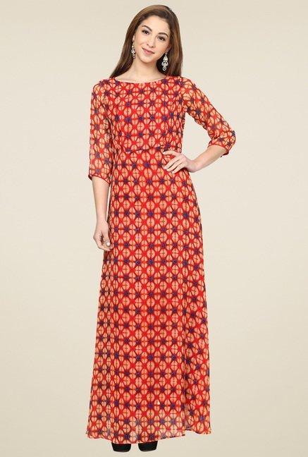 Aujjessa Orange 3/4th Sleeves Maxi Dress