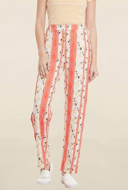 Cherymoya Peach & Beige Printed Trouser