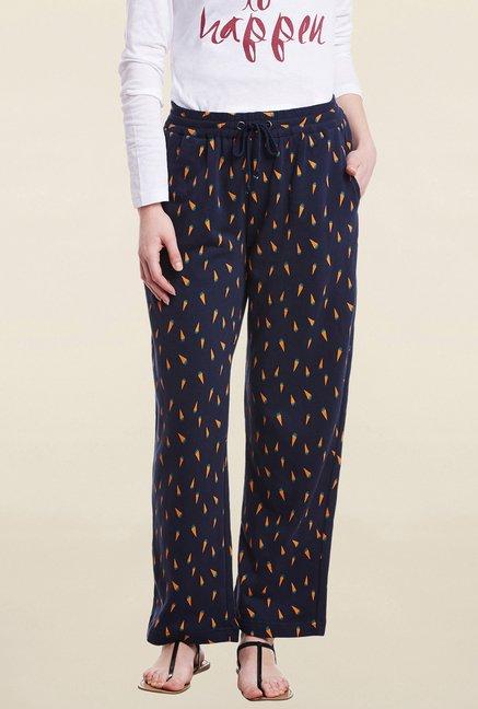 Cherymoya Navy Printed Trouser