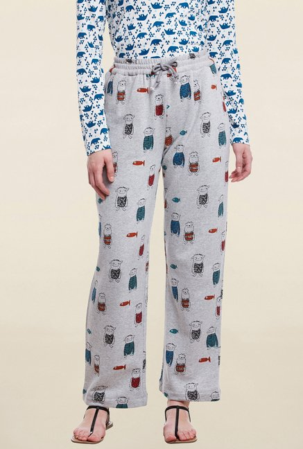 Cherymoya Grey Printed Trouser
