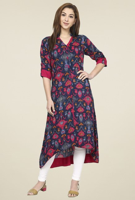 Aujjessa Navy & Fuchsia Regular Fit Kurta