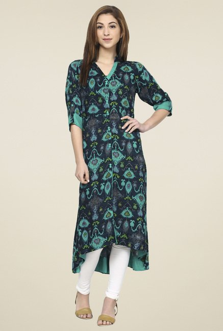 Aujjessa Navy & Sea Green Regular Fit Kurta