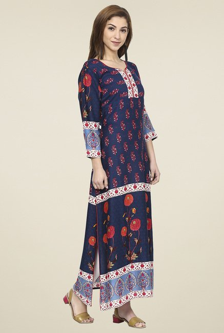 Aujjessa Navy & Red Regular Fit Kurta