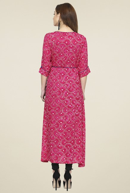 Aujjessa Fuchsia Regular Fit Printed Kurta