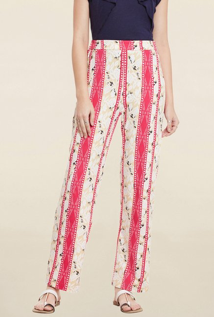 Cherymoya Red & Beige Printed Trouser