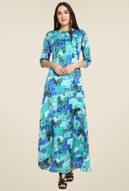 Aujjessa Turquoise Printed Maxi Dress