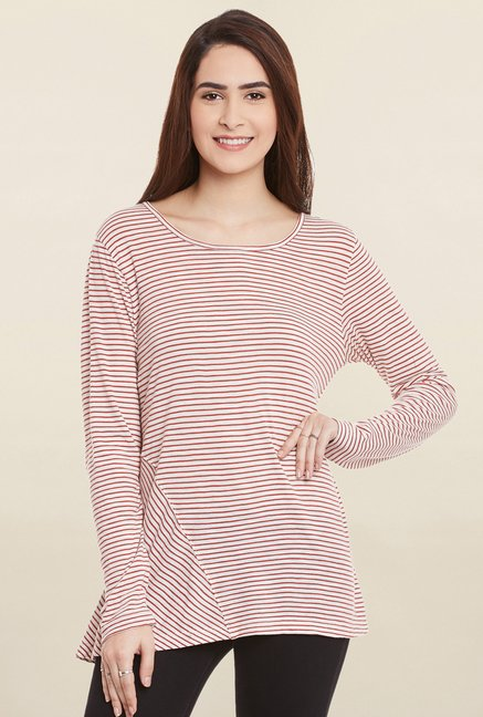 Cherymoya White & Red Striped Top