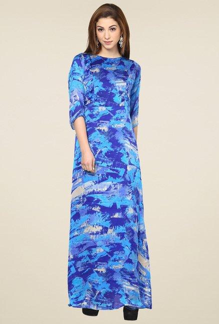 Aujjessa Blue Boat Neck Maxi Dress