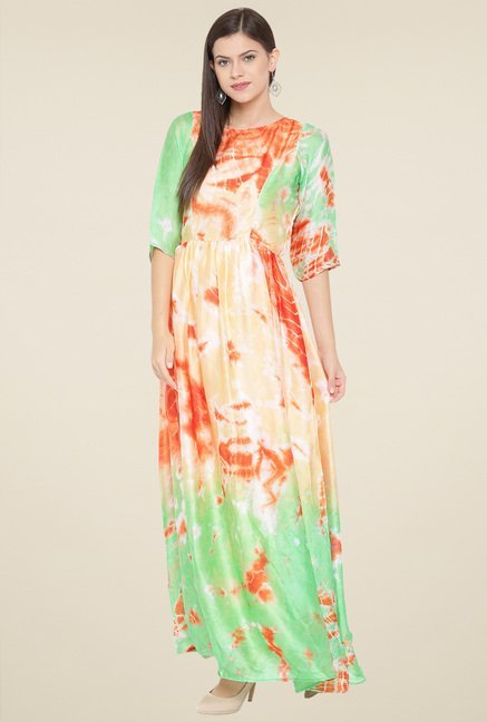 Aujjessa Orange & Pistachio Printed Maxi Dress