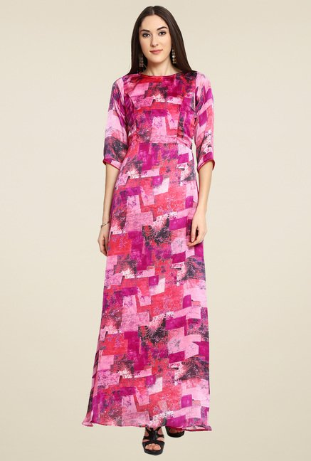 Aujjessa Magenta Printed Maxi Dress