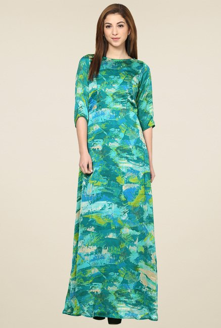 Aujjessa Sea Green 3/4th Sleeves Maxi Dress