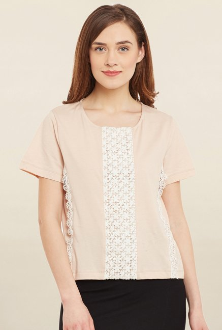 Cherymoya Peach Lace Top