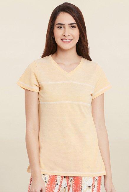 Cherymoya Beige Textured T Shirt