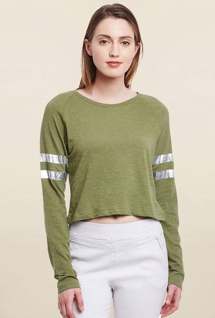 Cherymoya Olive Textured T Shirt