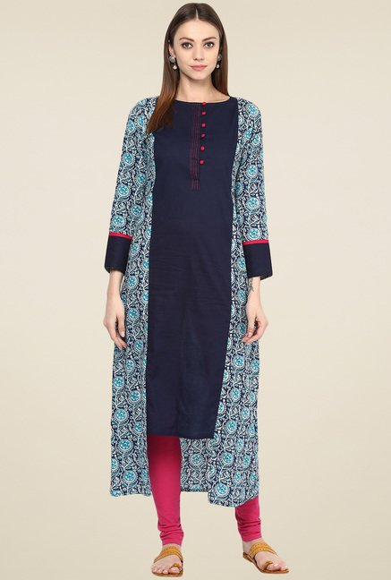 Jaipur Kurti Navy Regular Fit