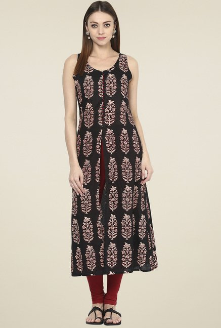 Jaipur Kurti Black Sleeveless