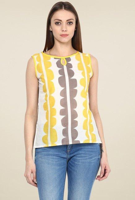 Jaipur Kurti White & Yellow Sleeveless Top