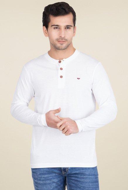 e9bad45f7473 Buy Red Tape White Full Sleeves Henley Solid T-Shirt for Men Online   Tata  CLiQ