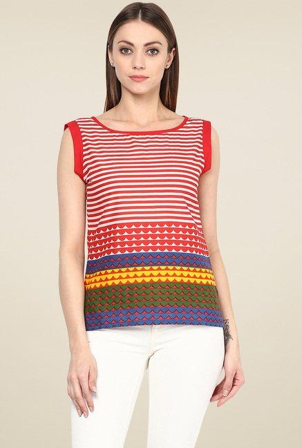 Jaipur Kurti Red & White Striped Top
